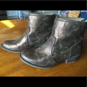 BareTraps Metallic distressed look booties
